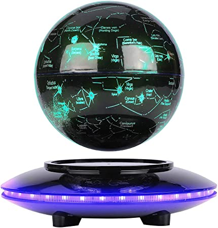 Floating Globe with LED Lights Magnetic Levitation Floating Globe Levitating Globe Rotating with World Map and Constellation inch 6 for Office Desk Decoration
