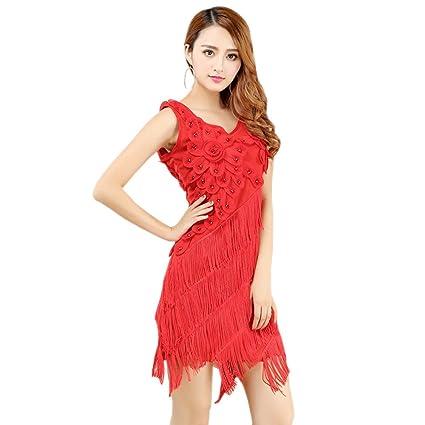 2cc8841125e Amazon.com  BOZEVON Womens Flowers Latin Dress Fringed Tassel Ballroom  Rumba Salsa Tango Skirt Dance Costume