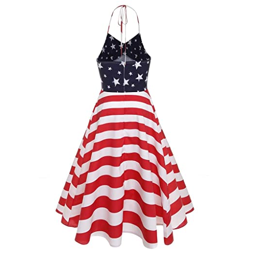 vermers Women Dresses, Vintage Sleeveless V Neck Flag Print Evening Party Prom Dress (S