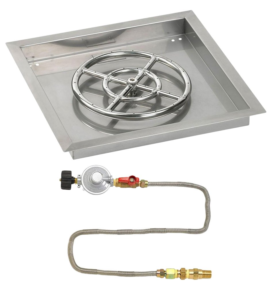 American Fireglass 18'' Square Stainless Steel Drop-In Pan with Match Light Kit (12'' Fire Pit Ring) Propane by American Fireglass