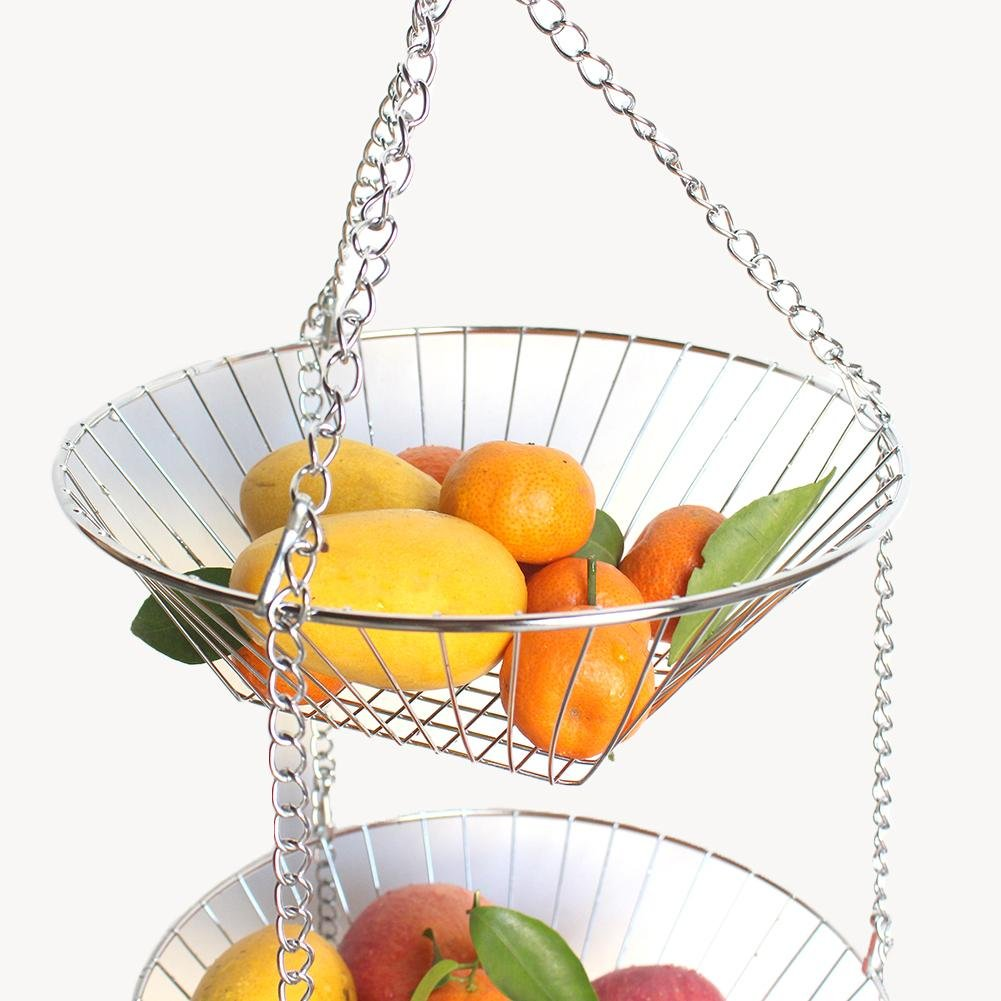 feiledi Trade 3-stufiger Obstkorb 3-stufiger Draht-H/ängekorbH/ängender Obstkorb Edelstahl-3-Schicht-K/örbe zum Aufbewahren und Organisieren von Gem/üse Theken oder H/ängen Eiern