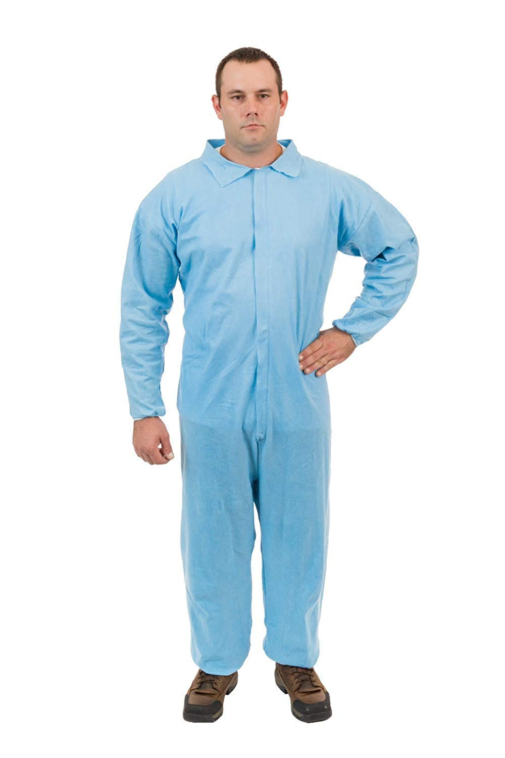 PyroGuard FR Disposable Flame Resistant Outerlayer Coveralls (Blue) (Case of 25) (5XL, Elastic Wrist, Open Ankle)