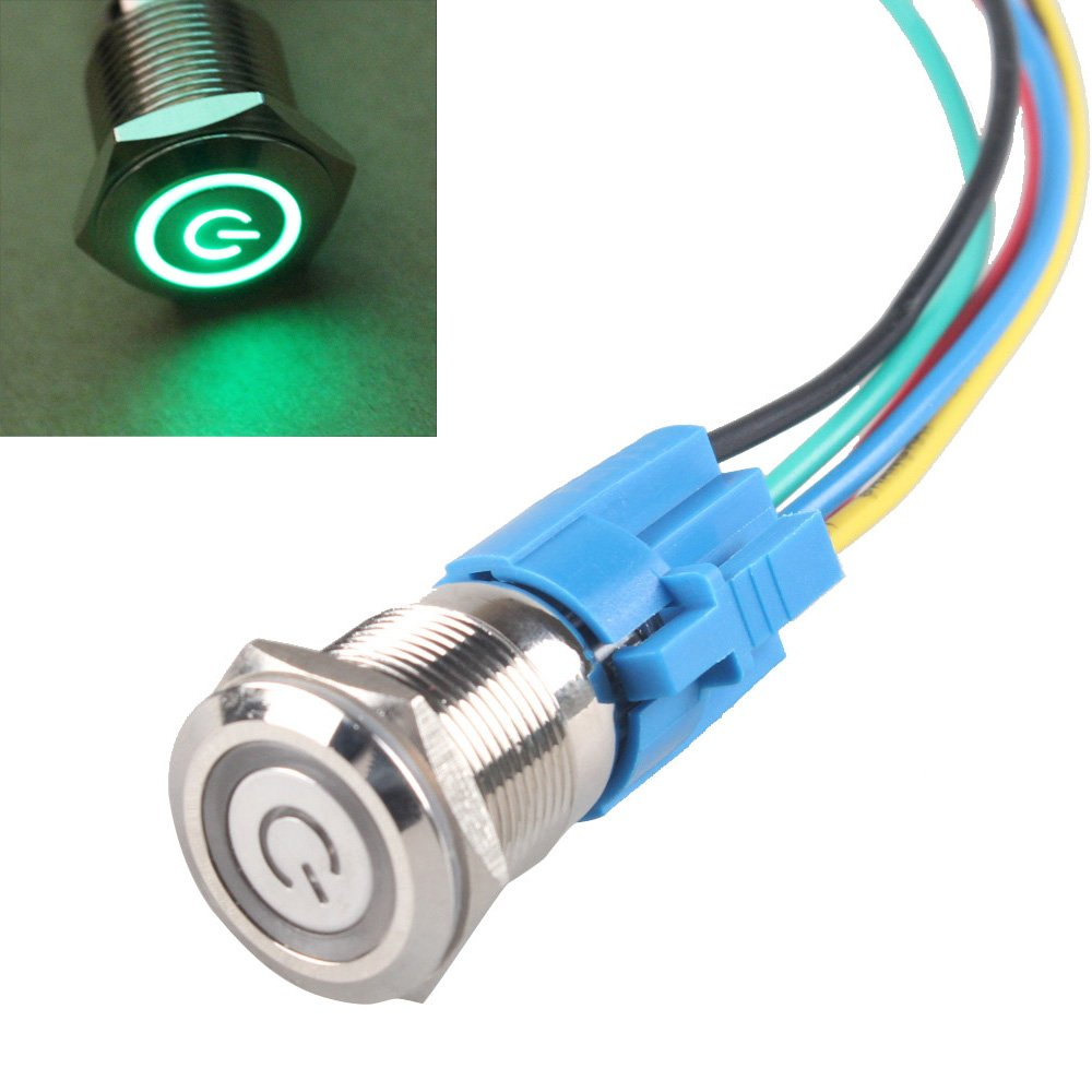 Amazon e support 19mm 12v 5a power symbol angel eye halo car amazon e support 19mm 12v 5a power symbol angel eye halo car green led light metal push button toggle switch socket plug wire automotive asfbconference2016 Image collections