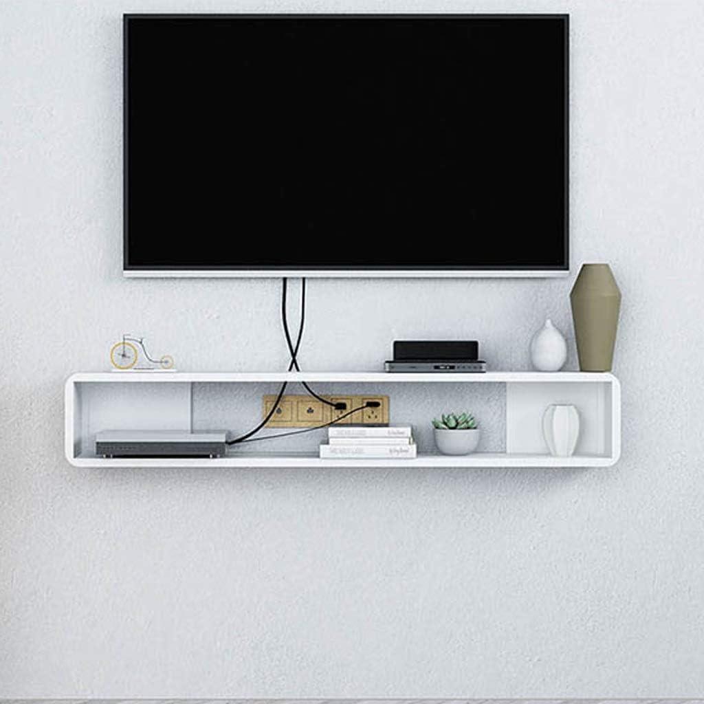 Montado en la pared de TV Gabinete flotante estante del estante del estante de la pared Multimedia Router WiFi decodificador de televisión por cable Estante de almacenamiento Tabla pared flotante esta: Amazon.es: