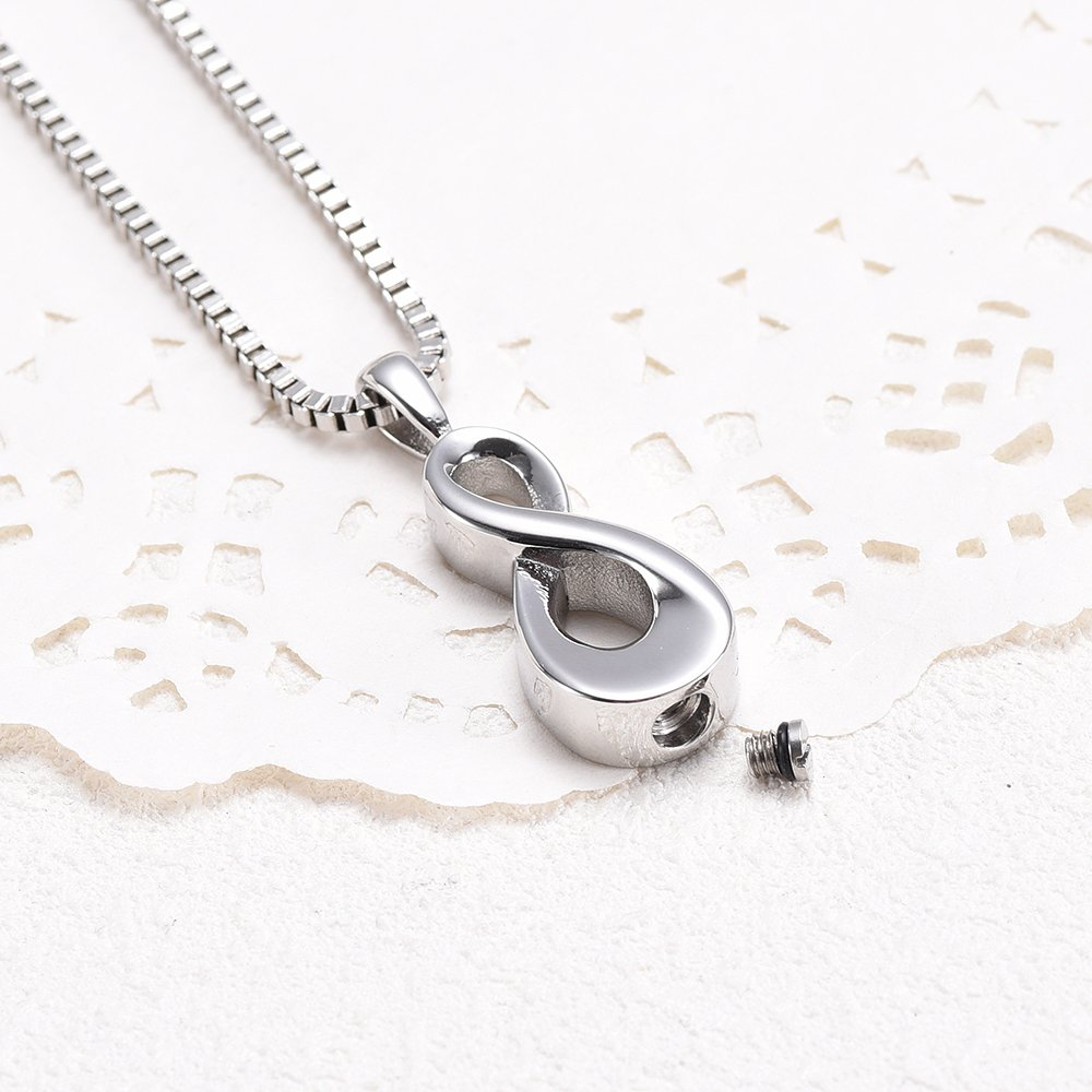 XSMZB Infinity Cremation Necklace for Ashes Stainless Steel Pendant Locket Keepsake Jewellery Memorial Urn Jewelry for Women//Men