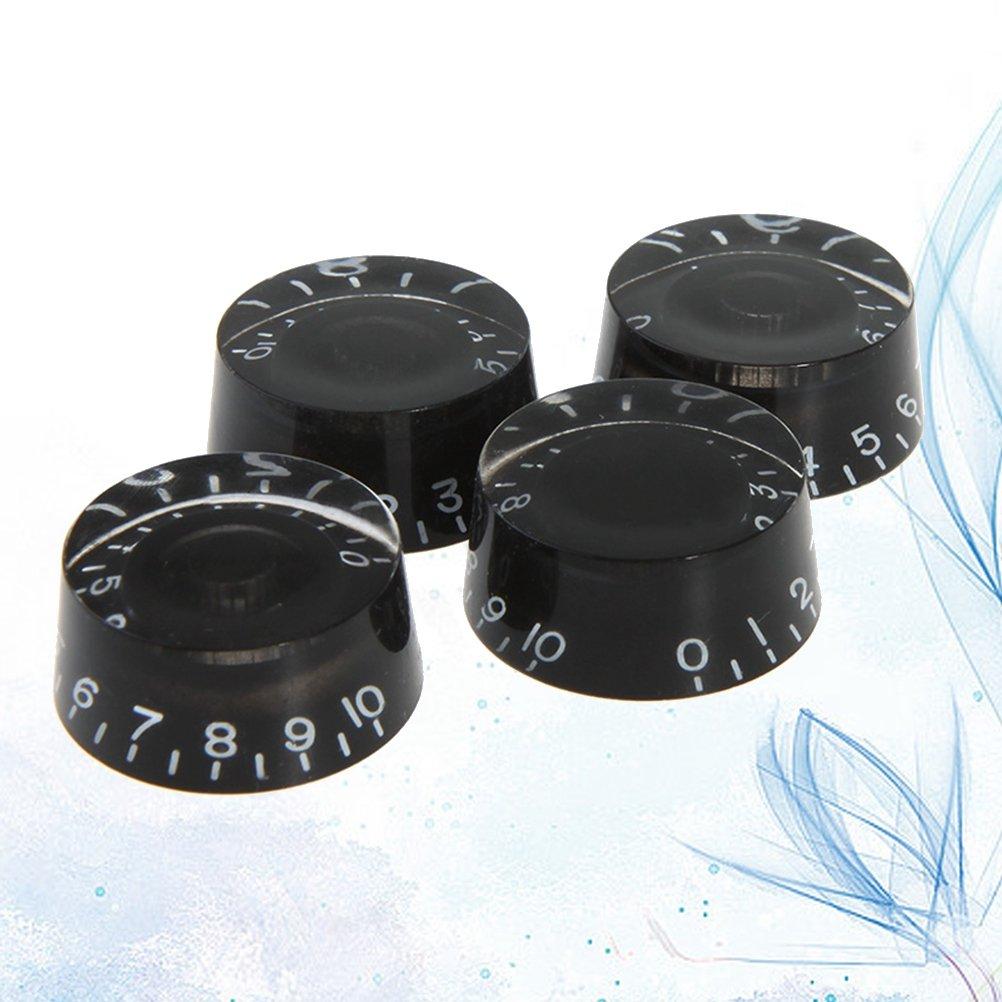 SUPVOX 4pcs boutons de guitare ronds boutons de commande de tonalit/é de volume de la vitesse de volume pour Gibson Epiphone Style remplacement de pi/èces de guitare /électrique noir