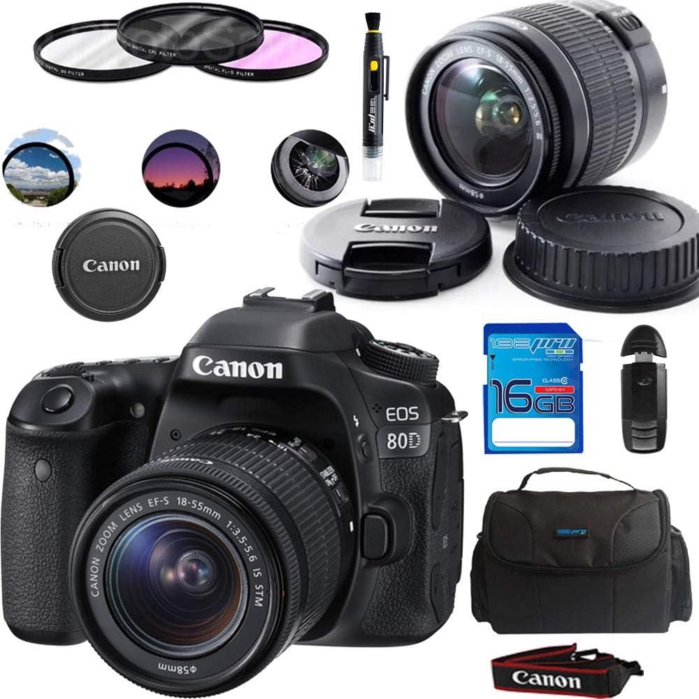 Canon EOS 80D Digital SLR Kit with EF-S 18-55mm f/3.5-5.6 Image Stabilization STM Lens (Black) + Basic Accessories Bundle