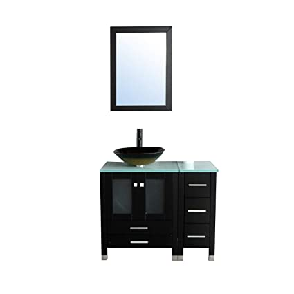 Walcut 36 Bathroom Vanity With Sink Mdf Wood Cabinet And Glass