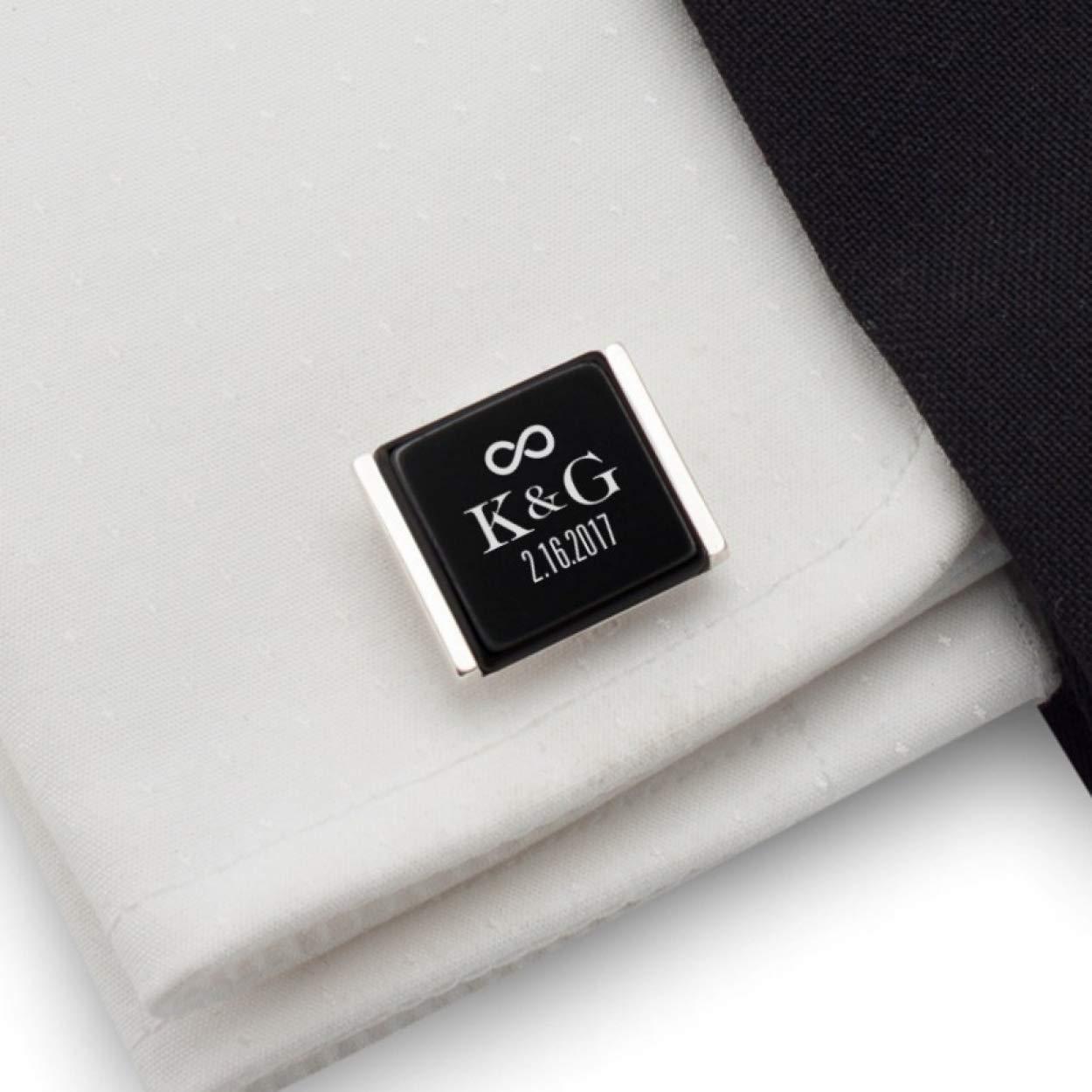 Bride /& Groom Wedding Cufflinks in Onyx Art of London Presentation Gift Box