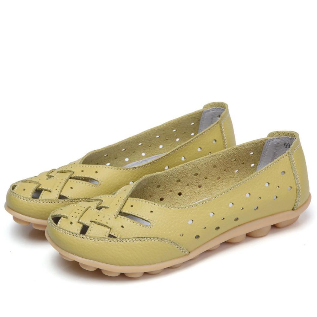 Igemy Frauen Runde Toe Schuhe, Dame Einfarbig Flache Sandalen Leder Knouml;chel Lauml;ssige Slipper Soft Schuhe  43 EU|Gr眉n