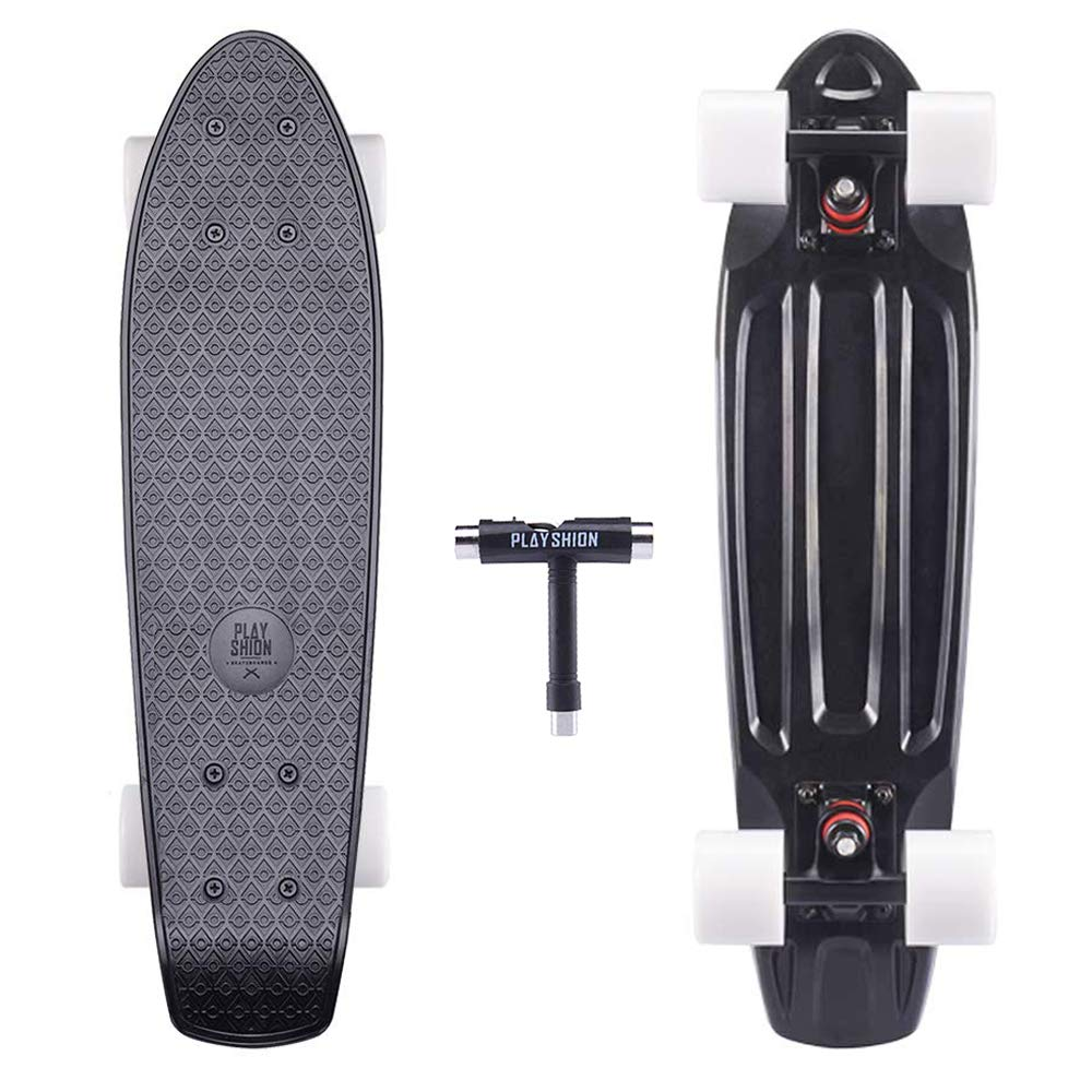 Playshion Complete 22 Inch Mini Cruiser Skateboard for Beginner with Sturdy Deck Black