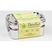 DeinGut XXL Edelstahl Lunchbox I Große Brotdose I 3-teilig I 1800 ml I Bento Box I Schule I Arbeit I Wandern I Reisen I Outdoor