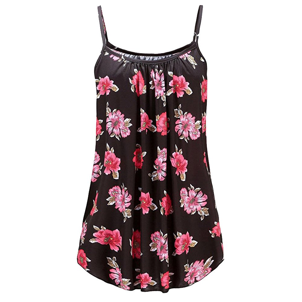 Women's Plus Size Summer Tanks Printed O-Neck Sleeveless Sling Vest Blouse Tank Tops Dress Camis Clothes (Multicolor, 3XL)
