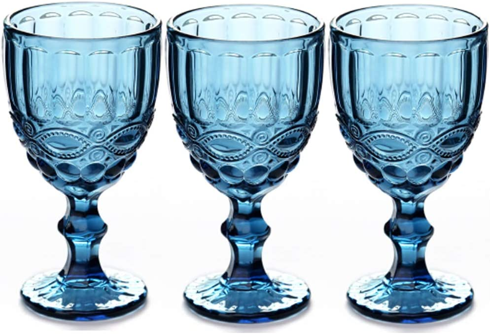Wine Glasses Set Of 3 Colored Water Goblets 10 Oz Wedding Party Red Wine Glass For Juice Drinking Embossed Design Blue Wine Glasses