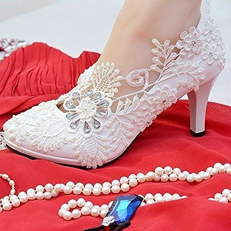 JINGXINSTORE Blanc floral Perle Dentelle de mariage 8cm/7, 6cm pour chaussures de mariage talons hauts Taille US 4–11