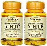 Sundown Naturals Maximum Strength 5-HTP (200 Mg) 60 Capsules (2 X 30 Count Bottles)
