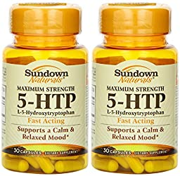 Sundown Naturals Maximum Strength 5-HTP (200 Mg) 60 Capsules (2 X 30 Count Bottles)
