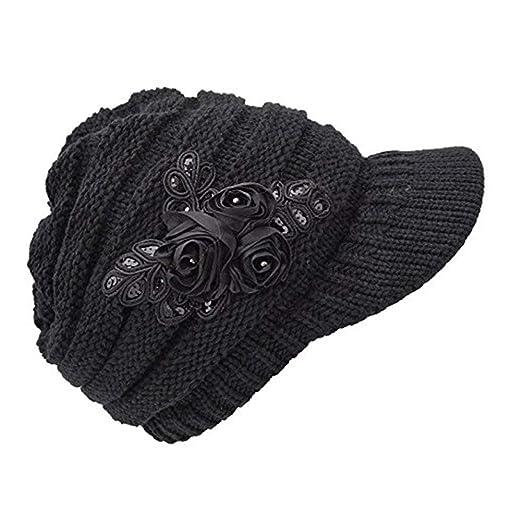 C-US Women Winter Warm Knit Hat Crochet Visor Brim Cap with Flower Accent ( 96f8c7e240d