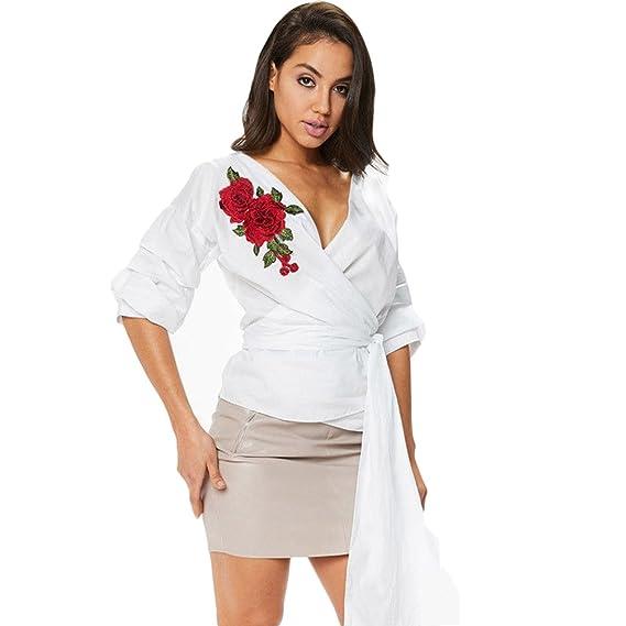 Kairuunn Mujeres Cuello V Ceñido Delantera con Rayas Cinturón Blusón Blusa Bordado Camiseta Top 3 Colores: Amazon.es: Ropa y accesorios