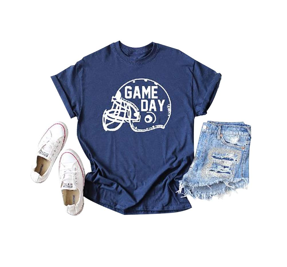 Anbech Super Bowl Game Day Letter Printed Champions Shirt Short Sleeve Crewneck Casual Tee