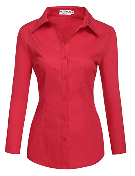 official photos 0b38f 87c1f BeautyUU Camicia Donna Manica Lunga Camicie Basic Camicetta ...