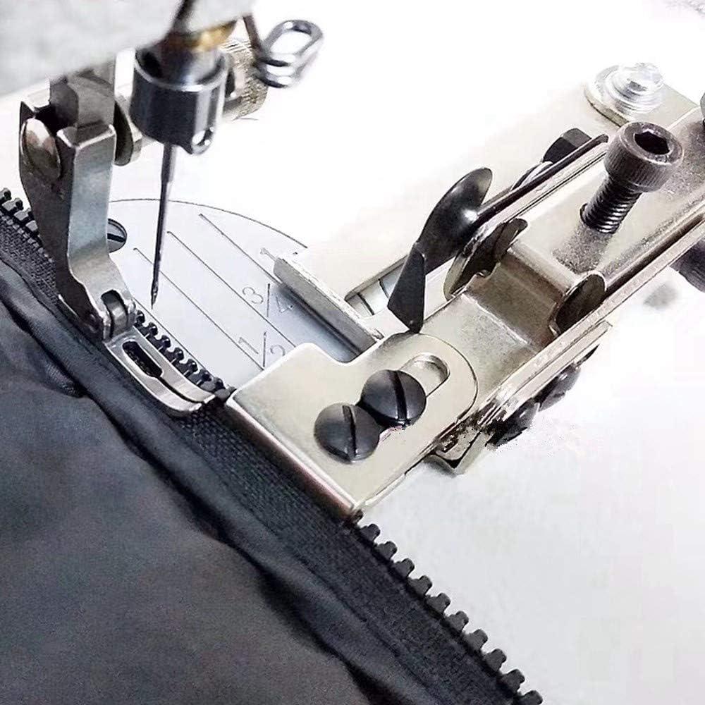 Accesorio de guía de cremallera ajustable + pie de cremallera para máquina de coser industrial Juki Ddl-8500 8700 Brother