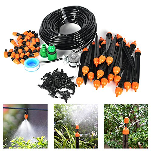 Price comparison product image SysPod(TM) 25m Hose 30x Drippers Micro Irrigation Drip System Plant Lawn Sprinkler System Water In Ground Garden Watering Irrigation Kit