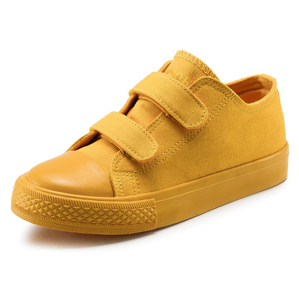 Boy's Girl's Low-Top Casual Strap Canvas Sneakers, Yellow, Little Kid, Size 1.5
