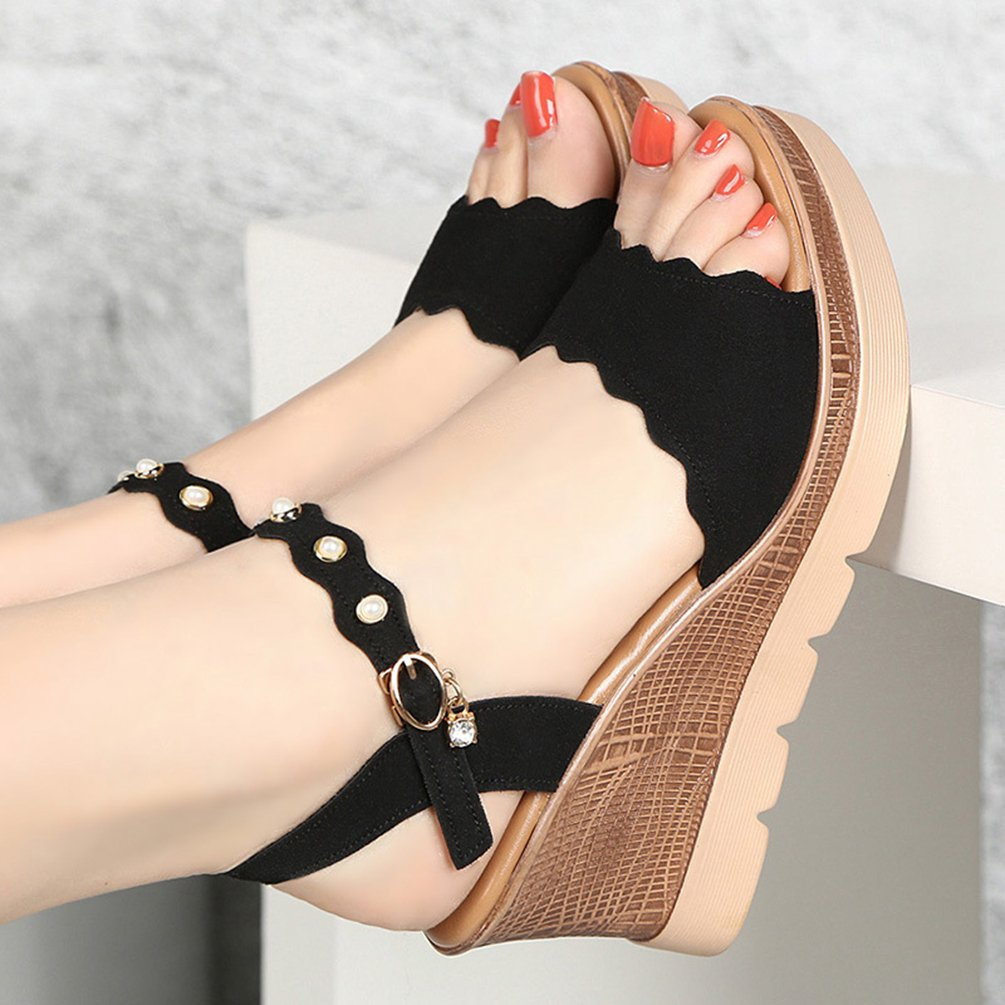 Anguang Piattaforma Donna Scarpe Piattaforma Anguang Elegante Peep Toe Sandali con Zeppa Nero 2305fc