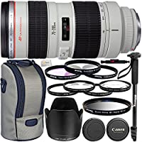 "Canon EF 70-200mm f/2.8L USM Lens - International Version (No Warranty) + 3 Piece Filter Kit + 4 Piece Macro Close-Up Filter Kit + UV Filter + 72"" Monopod with Quick Release & More!"