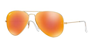 79bb61487d Image Unavailable. Image not available for. Color  Ray Ban RB3025 112 69 55 Matte  Gold Orange Mirror Large Aviator ...