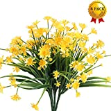 #5: Nahuaa Fake Plants, 4PCS Artificial Daisy Flowers Greenery Bush Faux Plastic Wheat Grass Shrubs Table Centerpieces Arrangements Home Kitchen Office Indoor Outdoor Spring Decorations Yellow