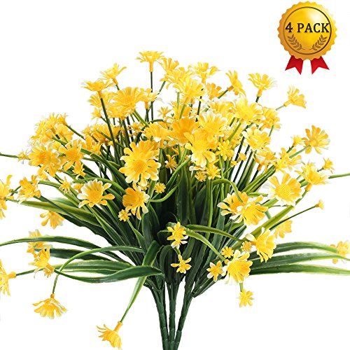 Nahuaa Fake Plants, 4PCS Artificial Daisy Flowers Greenery Bush Faux Plastic Wheat Grass Shrubs Table Centerpieces Arrangements Home Kitchen Office Indoor Outdoor Spring Decorations Yellow