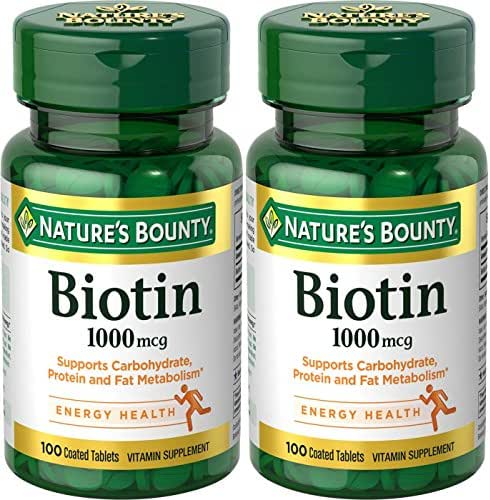 Nature's Bounty Biotin 1000 mcg, 100 Tablets (2 Pack)