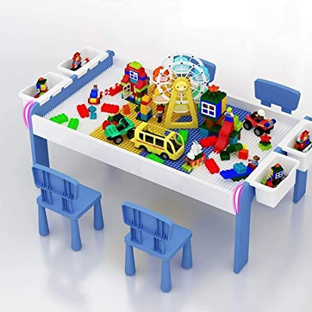 HIZLJJ Juego de Mesa De Actividades Múltiples 5 en 1 Para Niños Mesa De Bloques Pequeños