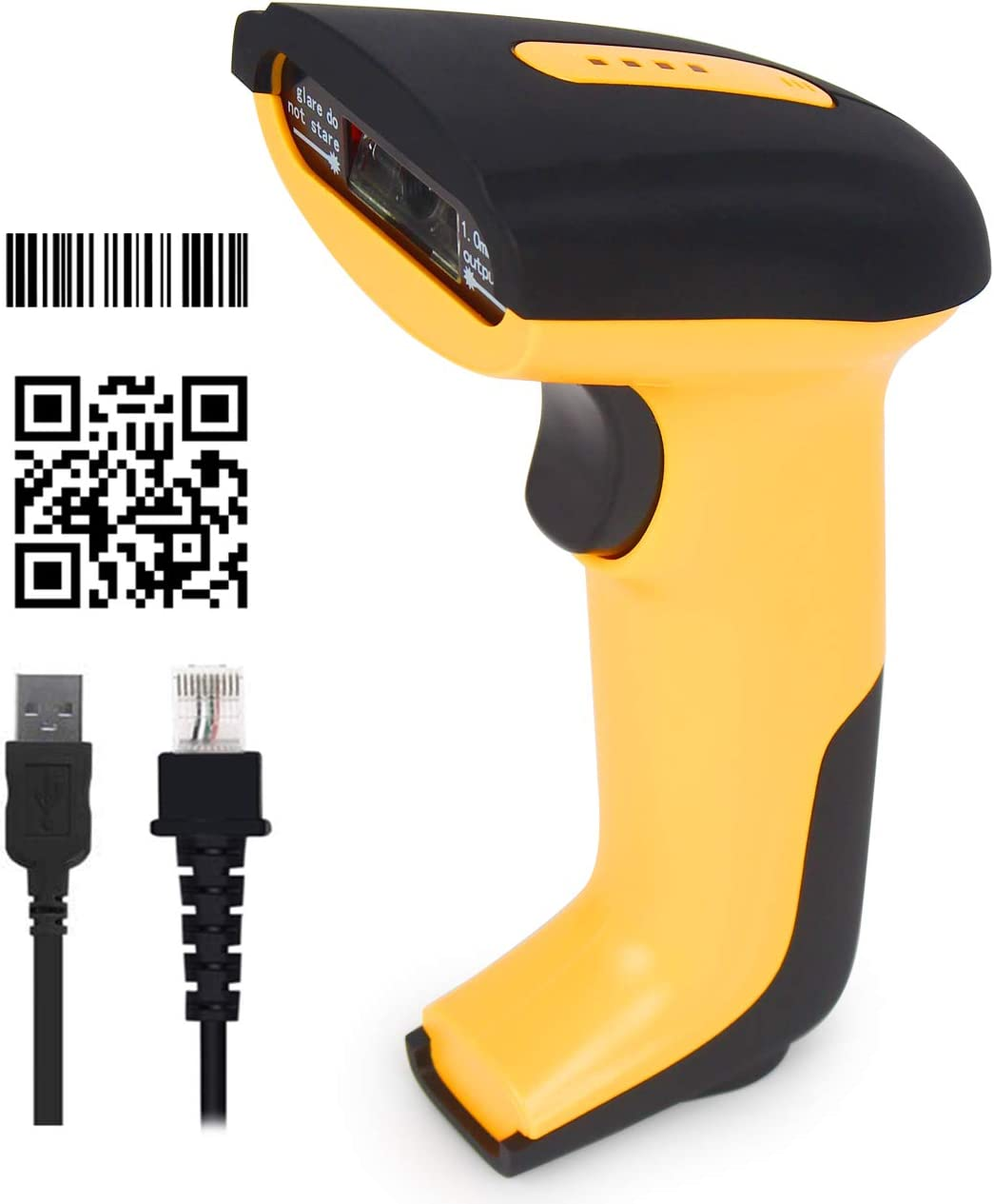 CHITENG 1D Barcode Scanner USB Barcode Reader Long Range High Speed Optical Laser Handheld Barcode Scanner Compatible with Windows Linux Android etc.