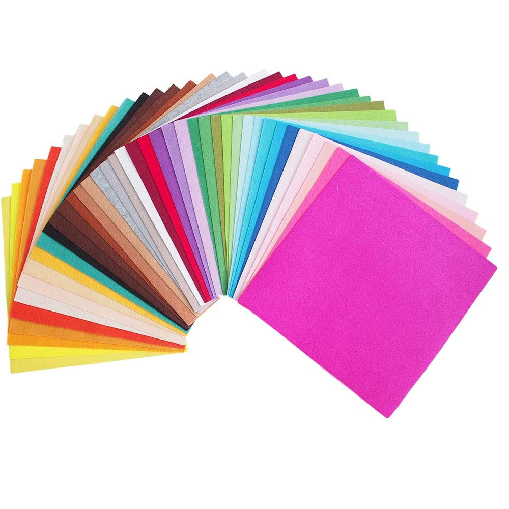 RayLineDo 40X Different Solid Color Felt Fabric Nonwoven Sheet Patchwork Squares 30*30cm Quilting Scrapbooking Artcraft Project Material