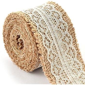 eDealMax arpillera Correa de la Cadena de artesanía Rollo de Cinta de Encaje 2.2 yardas Blanca Para decoración de la boda