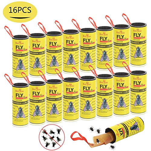 Sticky Fly (Sticky Fly Paper Strips, Fruit Fly Trap Paper Ribbons, 16 Pack Hanging Fly Tape Strips, Fly Catcher Strips, Sticky Fly Paper Roll Indoor/Outdoor Use by BAIYOU)