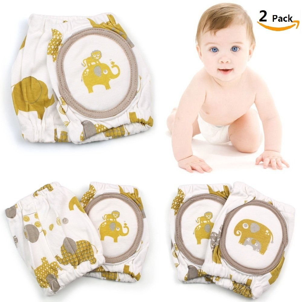 Baby Crawling Knee Pad (2 Pairs), Philyer Infant Knee Pads Breathable Adjustable Elastic Unisex Toddler Elbow Protective Pads