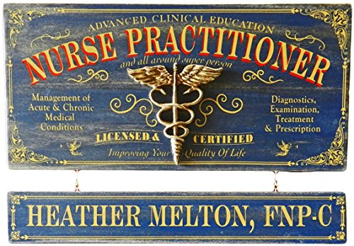 THOUSAND OAKS BARREL Nurse Practitioner Wood Plank Occupational Sign with Personalized Name Board
