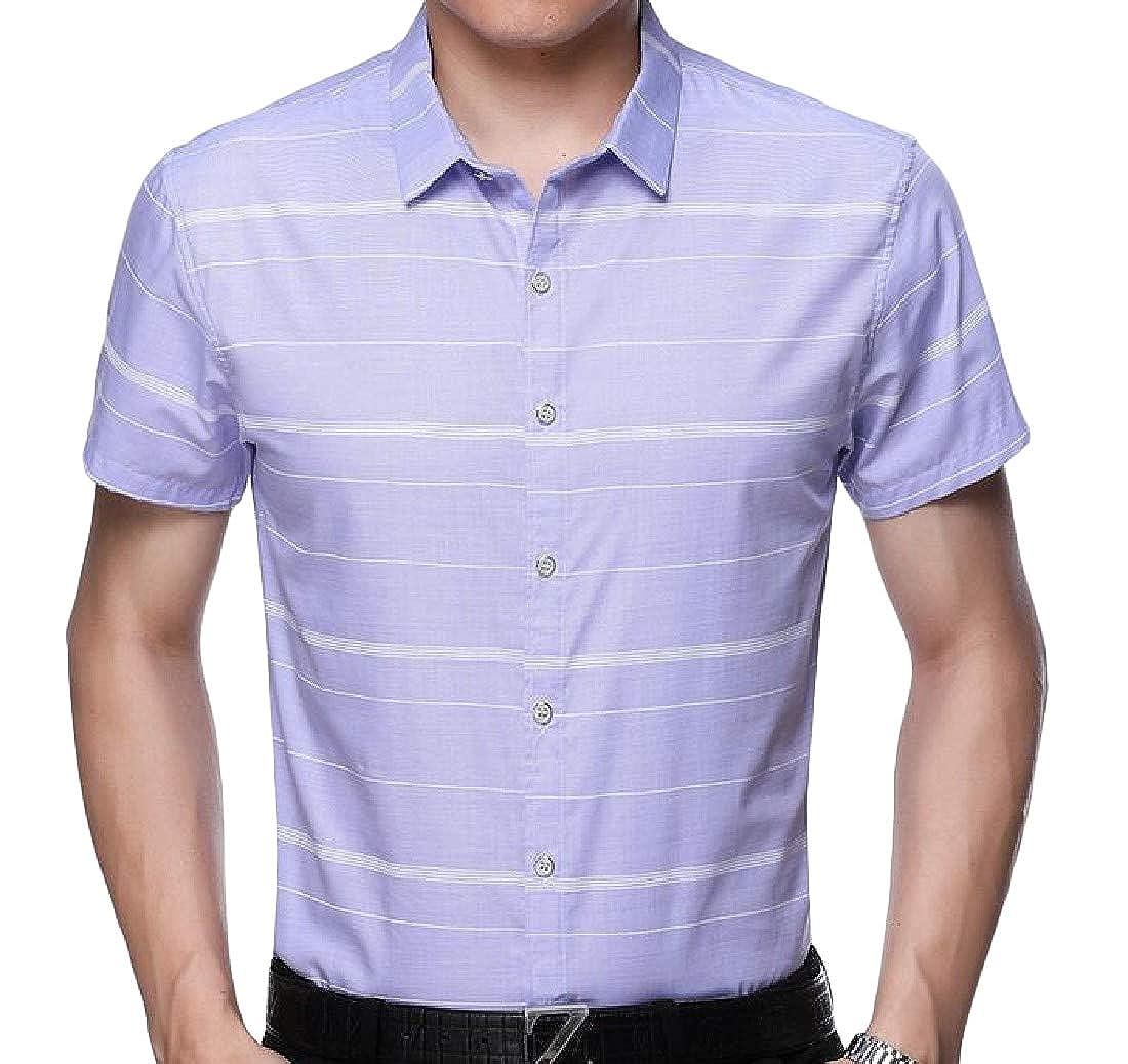 Lutratocro Mens Cotton Short Sleeve Plaid Cozy Business Button-Down Shirts