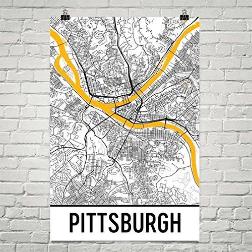 Pittsburgh map, Pittsburgh city map art, Pittsburgh wall art poster, Pittsburgh Pennsylvania decorative map,