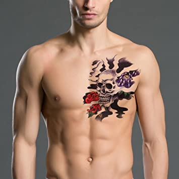718c11c6e TAFLY Men's Sexy Temorary Tattoos Large Black Skull Pattern Back Transfer  Tattoo Stickers for Men 2