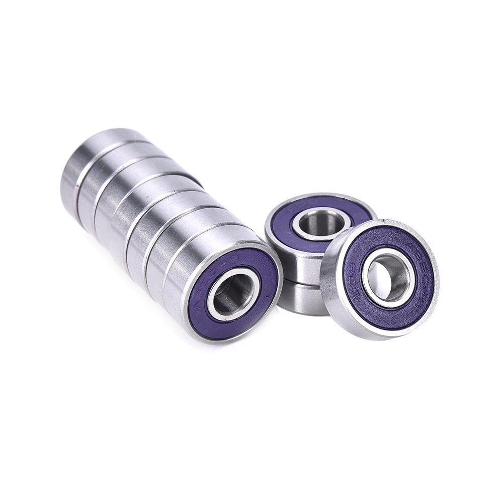 10 Pcs ABEC 9 Stainless Steel Bearings Roller Skate Scooter Skateboard Wheel - Purple by Single Mom