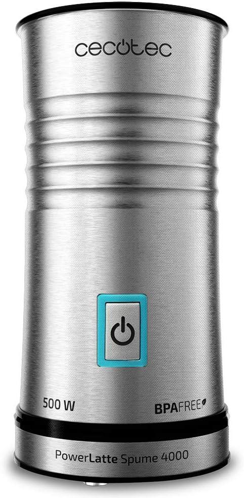 Cecotec Power Latte Spume 4000 - Espumador de leche, Capacidad de 240ml, para todo Tipo de Leche, Función Calentar, Base 360ºC, 500W