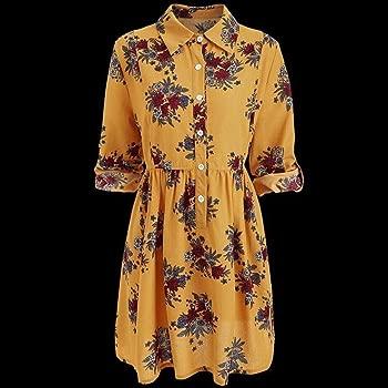 Vestido Estampado De Flores Mujer para Huihong Esencial ...
