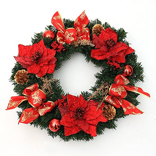 Christmas Garland for Stairs fireplaces Christmas Garland Decoration Xmas Festive Wreath Garland with Christmas wreath red,30cm Christmas wreath by Caribou Furniture And Decor