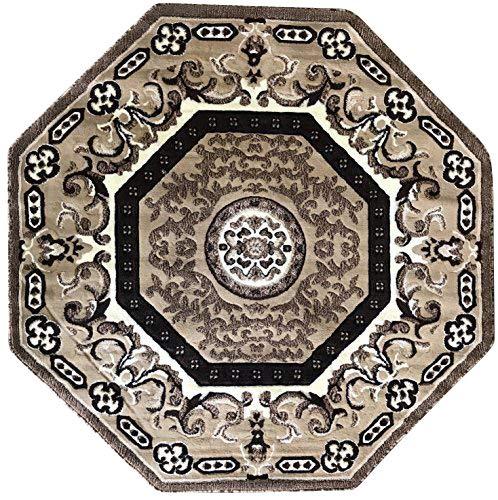 Americana Traditional Oriental Persian Octagon Area Rug Beige Brown Ivory Oriental Design 101 (7 Feet 3 Inch X 7 Feet 3 Inch)
