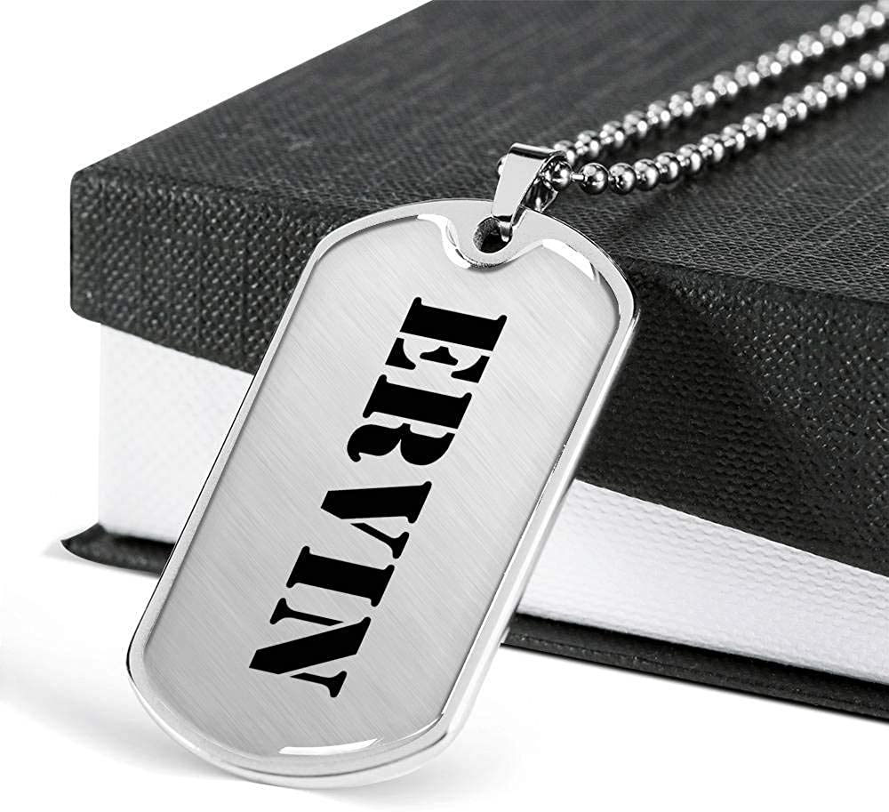 Luxury Dog Tag Necklace Personalized Name Gifts Ervin